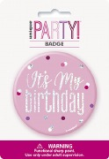Pink Glitz Birthday Badge