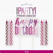 Pink Glitz Birthday Candle Set