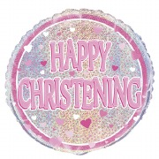 Pink Happy Christening Balloon