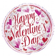Pink Hearts Valentines Balloon