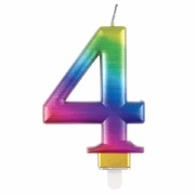 Rainbow Number 4 Candle