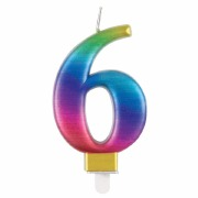 Rainbow Number 6 Candle