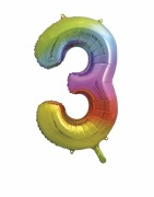 Rainbow No 3 Foil Balloon