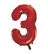 Red Number 3 Balloon