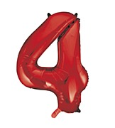 Red Number 4 Balloon