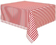 Red Striped Tablecover