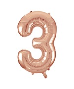 Rose Gold Number 3 Balloon