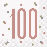 Rose Gold 100th Napkins