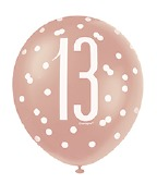 Rose Gold 13th Balloons