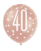 Rose Gold 40th Balloons