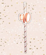 Rose Gold 40th Birthday Straws
