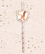 Rose Gold 50th Birthday Straws