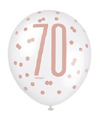 Rose Gold 70th Balloons