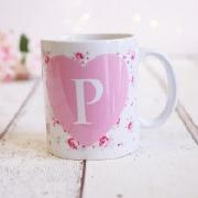 Rose Pattern Initial Mug