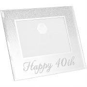 Silver Glitter 40th Frame