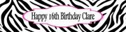 Zebra Birthday Banner
