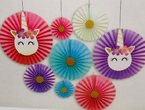Unicorn Paper Fan Decorations