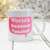 Bestest Teacher Pink Mug