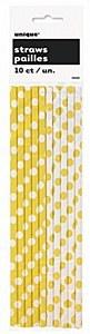 Yellow Dots Drinking Straws