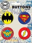 DC Logo Button 4 Pack Superman Batman Wonder Woman Flash