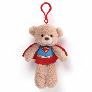 """DC Comics Fuzzy Supergirl Bear 6.5"""" Backpack Clip"""