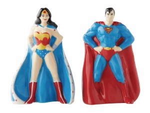 DC Wonder Woman/Superman Salt/Pepper Shakers