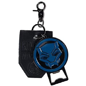 Black Panther Metal Bottle Opener with Leather Keychain