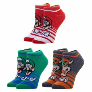 Super Mario Brothers Striped Junior Ankle Socks 3-Pack