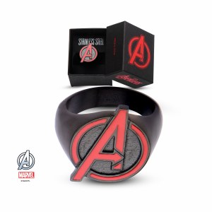 Avengers Red and Black Logo Ring Size 11