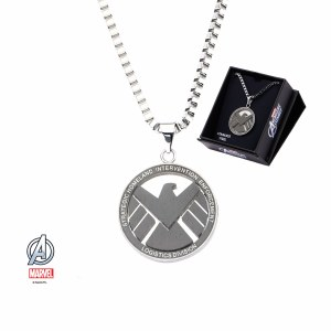 """SHIELD Small Stainless Steel Pendant w/ 24"""" Chain"""