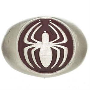 Spider-Man Brushed Nickel Logo Ring Size M / 8