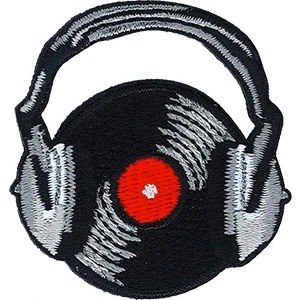 Record with Headphones Patchpin
