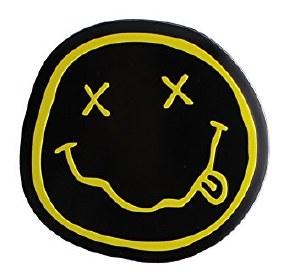 Nirvana Smiley 8cm Metal Gold Sticker