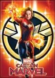 Captain Marvel & Emblem Magnet