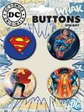 DC Superman 4 Button Set