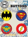 DC Logo Button 4 Pack Superman Batman Wonder Woman Flash