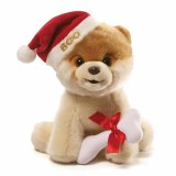 Boo Christmas Plush with Santa Hat