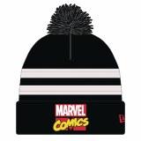 Marvel Comics Logo Px Blk & White Pom Knit Cap