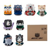 Naruto Nyaruto Come Here Sasuke-Kun Mini Fig 8Pc Set W/Gift