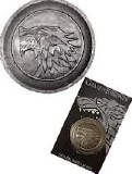 Game of Thrones Stark Direwolf Shield Pin