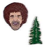 Bob Ross And Happy Tree Enamel Pin