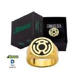 Green Lantern Fear Symbol Ring Size 8 Gold