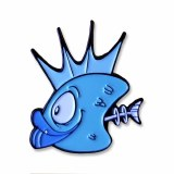 Blue Fish Heads Toon Pin