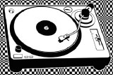 Record Player BW Sticker
