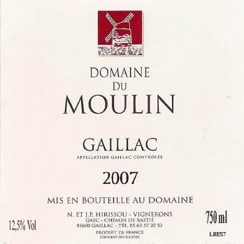 Domaine du Moulin Gaillac 2012