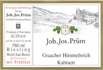 Joh. Jos. Prum Riesling Graacher Himmelreich Kabinett 2014