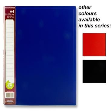 Display Book 20 Pocket A4 in a choice of 3 Colours