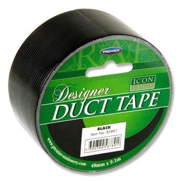 Designer Duct Tape 48mm x 9m Black Icon