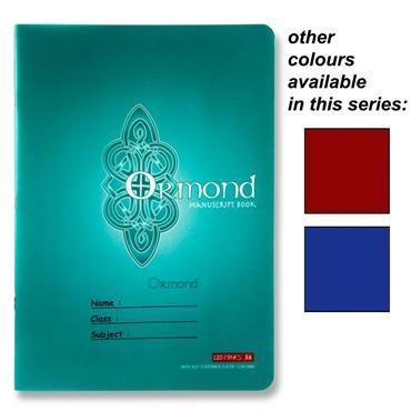 Manuscript Copy A4 Plastic Cover 120 page Ormond in a choice of 3 Colours