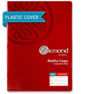 A4 Maths Copy with Plastic Cover Ormond